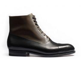 エドゥアールバルモラルブーツ ブラック&ブロンズボックスカーフ